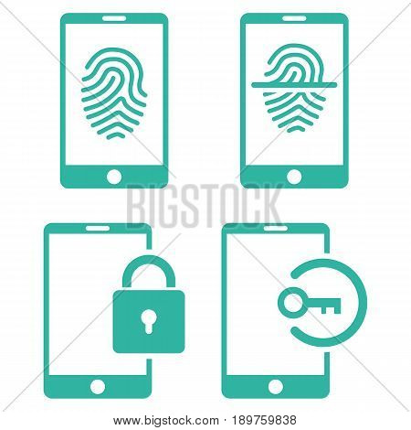 Smartphone Identification vector icon clip art. Collection style is cyan flat symbols on a white background.