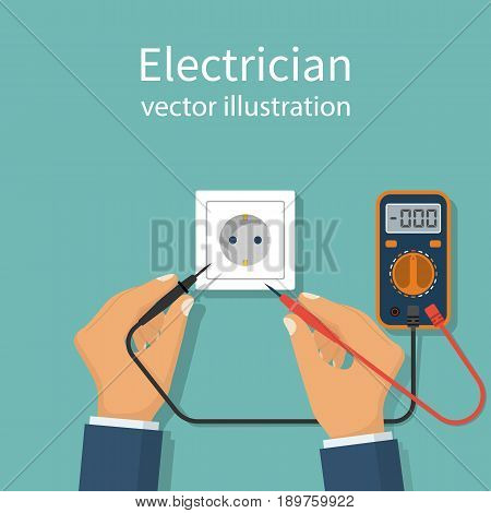 Professional electrician icon. Digital multimeter hold in hand man worker. Measure voltage in power socket. Repair of home electrical wiring. Vector illustration flat design. Isolated on background.