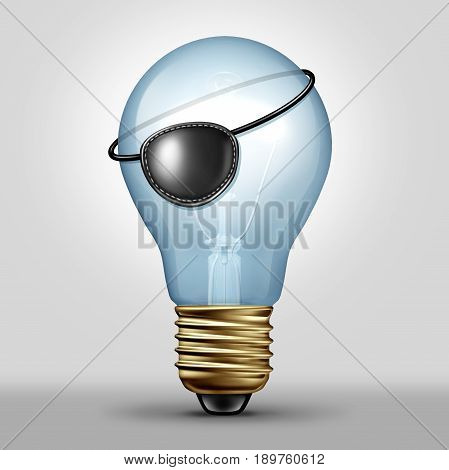Copyright infringement concept and plagiarism or piracy idea as a lightbulb wearing a pirate eye patch as a symbol for unauthorized use of ideas or creative media as a 3D illustration.