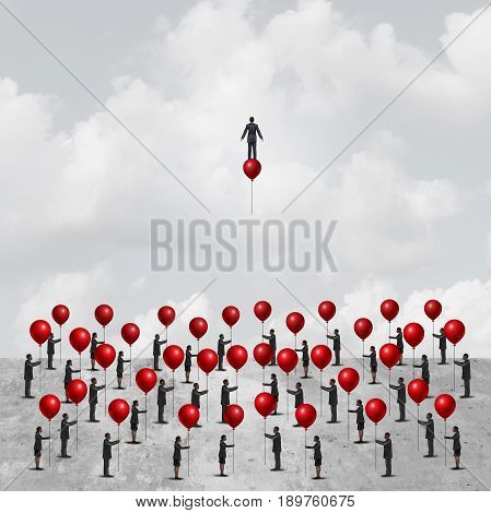 Individual thinking business concept as a group of peopleon the ground holding balloons with one clever and innovative businessman riding a balloon as an individuality metaphor with 3D illustration elements.