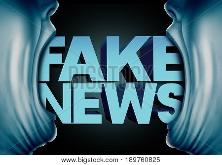 Fake news reporting concept and hoax journalistic reports from anonymous sources as people with open mouths with text as false media reporters metaphor and deceptive disinformation with 3D illustration elements.