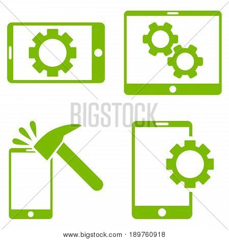 Mobile Options vector icon clipart. Collection style is eco green flat symbols on a white background.