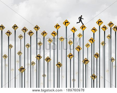 Business strategy path and career pathway plan as a businessman running on confusing arrow traffic signs as an ambition and goal focus metaphor with 3D illustration elements.