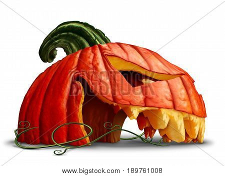 Pumpkin halloween head as a side view broken orange grinning jack o lantern symbol on a white background as an autumn concept with 3D illustration elements.
