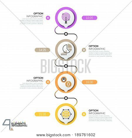 Infographic design template, diagram with 4 circular elements successively connected by lines. Vertical timeline with time indication, pictograms and text boxes. Vector illustration for website, blog.