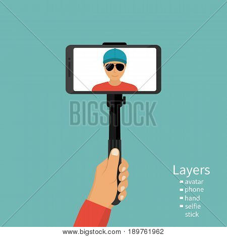 Man holding in hand stick selfie. Selfie monopod, on smartphone. Vector illustration of a flat design. Make a photo. Template for avatar. Modern equipment for the phone. Groups by layers.