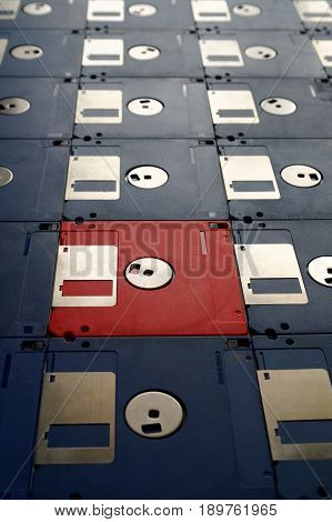 35 inch diskettes for old computers in perspective view