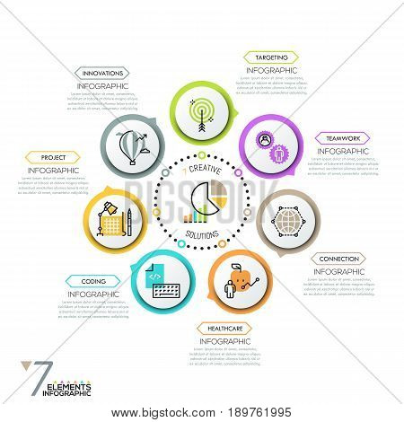 Minimalistic infographic design layout. Round diagram, 7 circular elements with pictograms in thin line style placed around center and successively connected by arrows. Vector illustration for report.