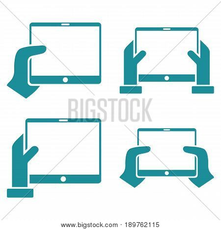 Hold Mobile Tab With Hands vector icon clipart. Collection style is soft blue flat symbols on a white background.