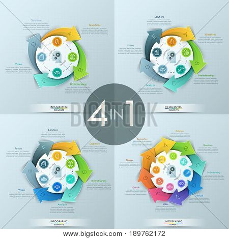 Set of 4 modern infographic design templates. Circular diagrams with lettered arrows placed around center, pictograms and text boxes. Vector illustration for website, report, brochure, presentation.