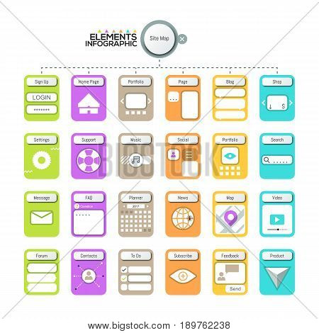 Creative infographic design template. Elements with pictograms for website map visualization. Site organization, hierarchy and scheme. Vector illustration for internet blog, user navigation tools.