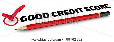 Good credit score. The check mark