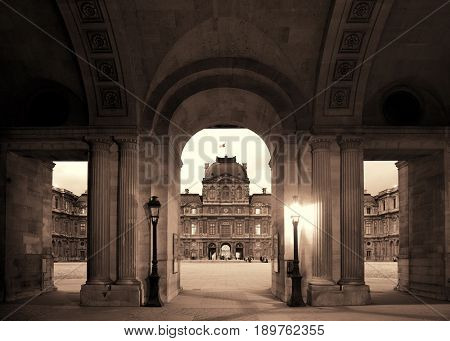 PARIS, FRANCE - MAY 13: Louvre archway clouseup view on May 13, 2015 in Paris. With over 60k sqM of exhibition space, Louvre is the biggest Museum in Paris.