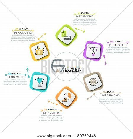 Circular diagram, 6 rounded rectangles with icons in thin line style successively connected by arrows. Infographic design template. Steps of business cycle concept. Vector illustration for brochure.