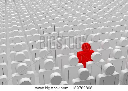 one red man in the crowd white characters, 3d rendering