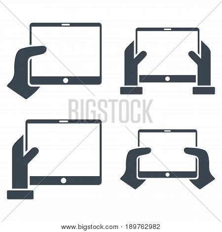 Hold Mobile Tab With Hands vector icon clipart. Collection style is smooth blue flat symbols on a white background.