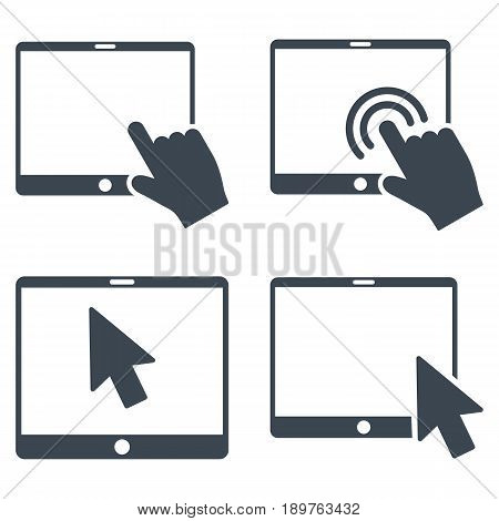 Mobile Tab Pointer vector icon clip art. Collection style is smooth blue flat symbols on a white background.