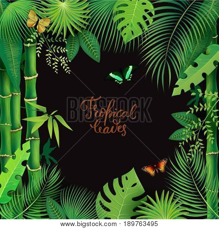 Vector Illustration of an Abstract Background with Tropical Leaves and modern brush lettering Summertime