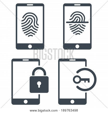 Smartphone Identification vector icon clipart. Collection style is smooth blue flat symbols on a white background.