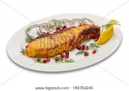 Fried sturgeon on a white plate isolated on white background isolation