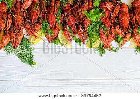 Boiled Tasty River Crayfish On White Wooden Background With Fennel (dill) And Lemon On The Side