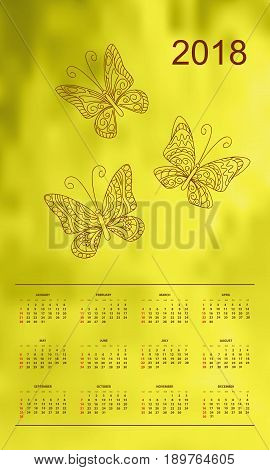 Business english calendar for wall on year 2018 on the gradient background with hand drawn patterned butterflies. Week starts on Sunday. eps 10