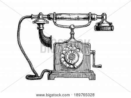 Vector hand drawn illustration of retro telephone in vintage engraved style. isolated on white background.