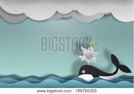 Whale with boat paper art copy space vector paper cut cute illustration