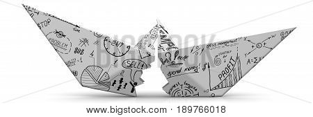 Unsuccessful business plan. Torn paper boat made from a sheet with business sketches on a white surface. Isolated. 3D Illustration
