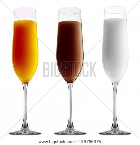 Pina colada, white russian, Irish Cream chocolate Liqueuron, mimosa fresh fruit alcohol cocktail or mocktail in champagne glass with blue white and orange beverage isolated on white background
