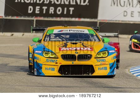 June 02, 2017 - Detroit, Michigan, USA:  The Turner Motorsport IHG Rewards Club BMW M6 GT3 races through the turns at the Chevrolet Sports Car Classic at Belle Isle Street Course in Detroit, Michigan.
