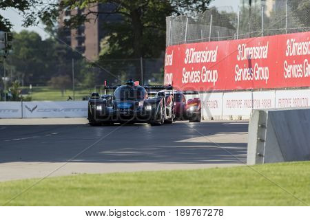 June 03, 2017 - Detroit, Michigan, USA:  The Wayne Taylor Racing car races through the turns at the Chevrolet Sports Car Classic at Belle Isle Street Course in Detroit, Michigan.