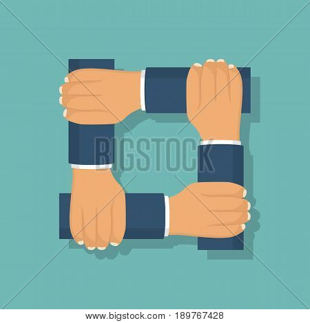 Connected  hands icon isolated on background. Symbol of unification. Businessmen in suits. Vector illustration, flat design. Template for text, slogans, quotes. Team of people.