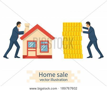 Buying house. Agent of real estate give house. Buyer pays with gold coins. Deal sale and purchase of real, concept. Vector illustration flat design. Money home. Isolated on white background.