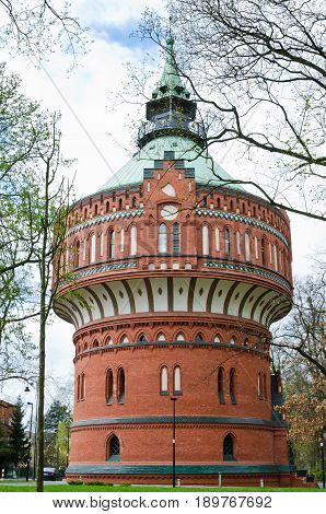 BYDGOSZCZ, POLAND. 9th APRIL 2017. The water tower with its museum of watercourses and its panoramic viewing platform is one of many attractions that is currently pulling tourists into the city of Bydgoszcz in growing numbers.