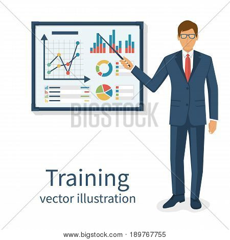 Business training concept. Modern businessman make presentation standing whiteboard. Explaining charts graph diagram on seminar. Giving lecture. Vector illustration flat design. Isolated on background