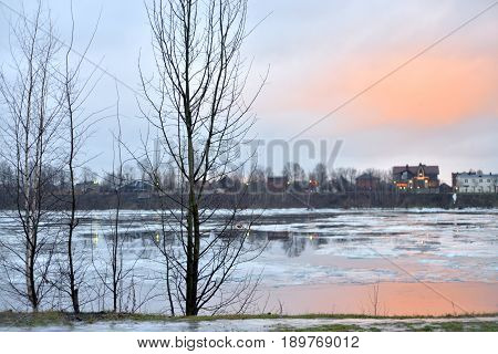 View of Neva River on the outskirts of St.Petersburg at winter Russia.
