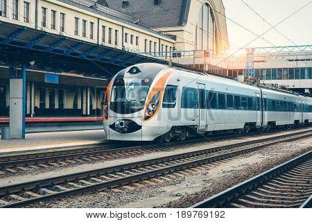 Modern Intercity Train On The Railway Platform