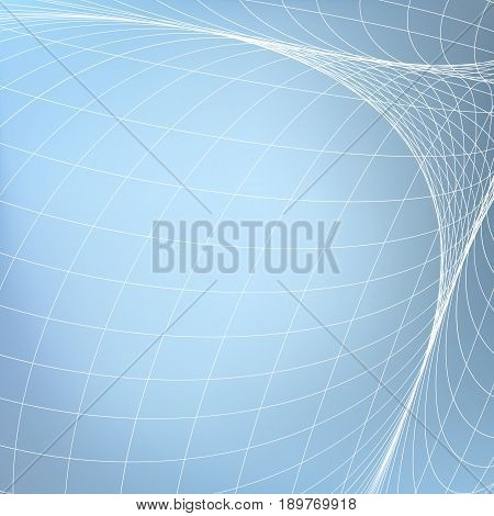 Abstract geometric background. White grid in light blue space