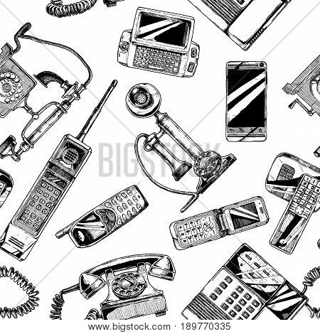 Seamless black-and-white pattern with telephone and mobile phone. Vector illustration in vintage engraved style on white background.
