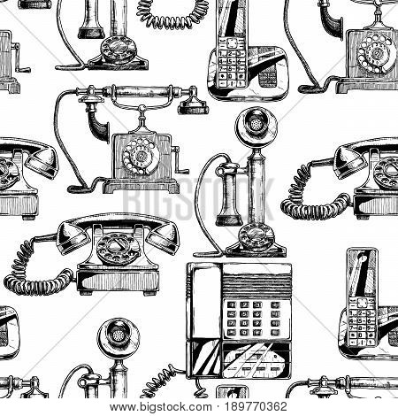 Seamless black-and-white pattern with telephone. Vector illustration in vintage engraved style on white background.