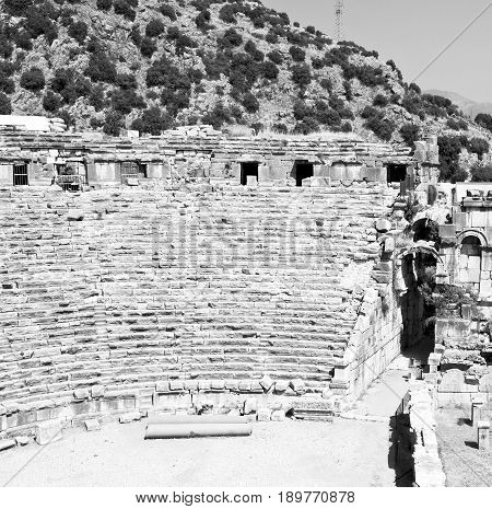 Archeology Theater  In  Myra Turkey Europe Old Roman Necropolis And Indigenous Tomb Stone