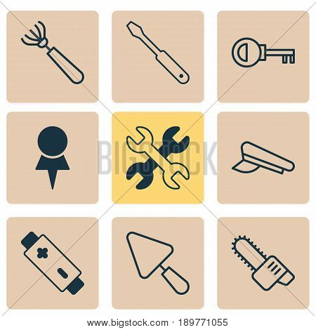 Tools Icons Set. Collection Of Harrow, Putty, Gasoline Cutter And Other Elements. Also Includes Symbols Such As Access, Password, Hat.