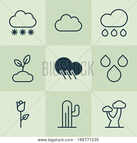 Landscape Icons Set. Collection Of Love Flower, Rain, Snowstorm And Other Elements. Also Includes Symbols Such As Desert, Raindrop, Snow.