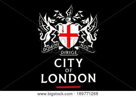 London UK - May 13 2015:The City of London symbol. The City has a unique political status of integrity as a corporate city since the Anglo-Saxon period and its singular relationship with the Crown