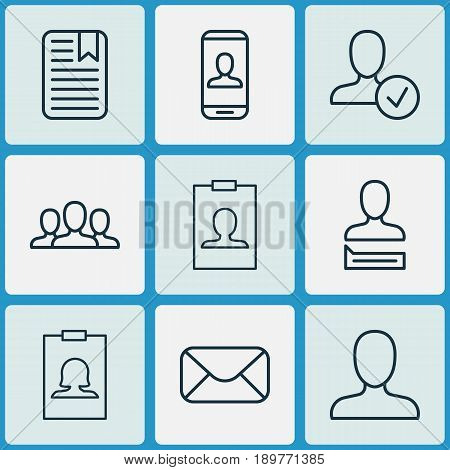 Social Icons Set. Collection Of Privacy Information, Confirm Profile, Note Page And Other Elements. Also Includes Symbols Such As Human, Identity, Info.