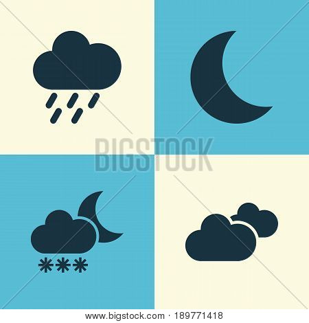 Climate Icons Set. Collection Of Douche, Weather, Moon And Other Elements. Also Includes Symbols Such As Overcast, Rain, Weather. poster