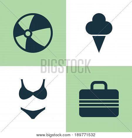 Season Icons Set. Collection Of Baggage, Bikini, Sorbet And Other Elements. Also Includes Symbols Such As Balloon, Bikini, Sorbet.