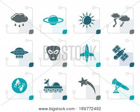 Stylized Astronautics and Space and universe Icons - Vector Icon Set