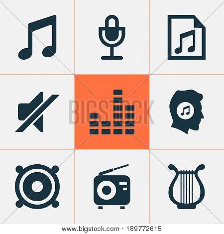 Audio Icons Set. Collection Of File, Silence, Tuner And Other Elements. Also Includes Symbols Such As Lover, File, Music.